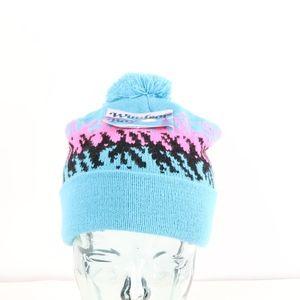 NOS 90s Multi-Color Geometric Pom Winter Hat Blue